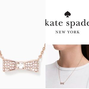 Kate Spade Ready Set Bow Necklace in Rose gold